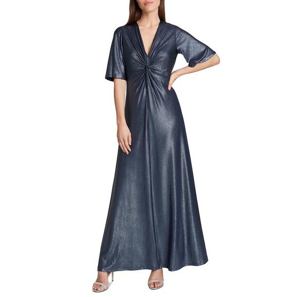 激安単価で タハリエーエスエル レディース ワンピース トップス Twist-Front Metallic Gown Blue Metallic, ツクミシ 98e35f2c