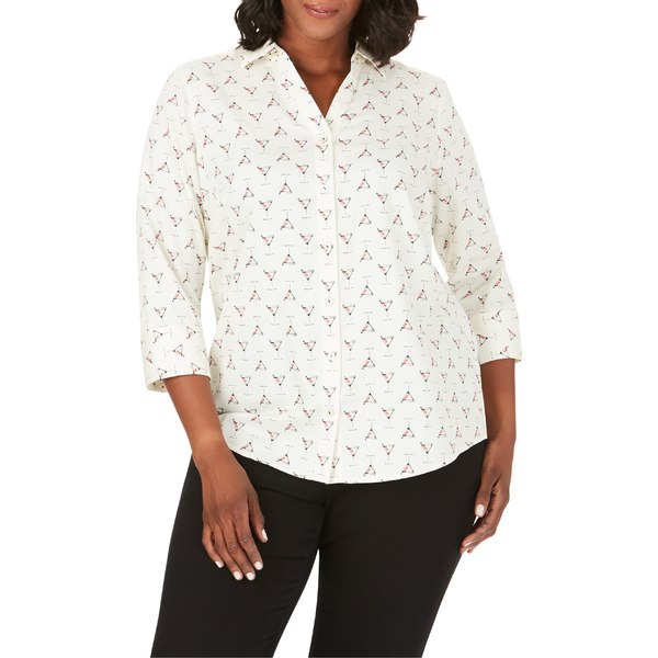 フォックスクラフト レディース シャツ トップス Foxcroft Mary Martini Time Print Wrinkle-Free Shirt (Plus Size) Multi