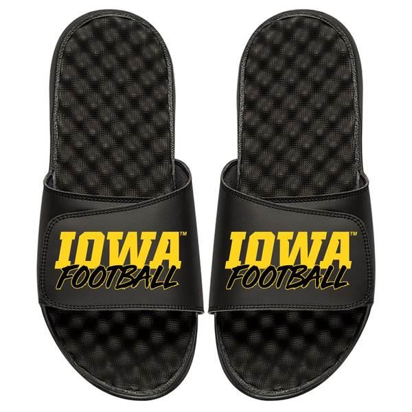 アイスライド メンズ サンダル シューズ Iowa Hawkeyes ISlide Football Stacked Slide Sandals Black