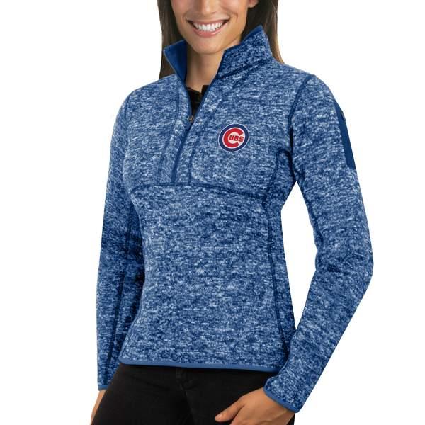 アンティグア レディース ジャケット&ブルゾン アウター Chicago Cubs Antigua Women's Fortune HalfZip Pullover Sweater Heathered Royal