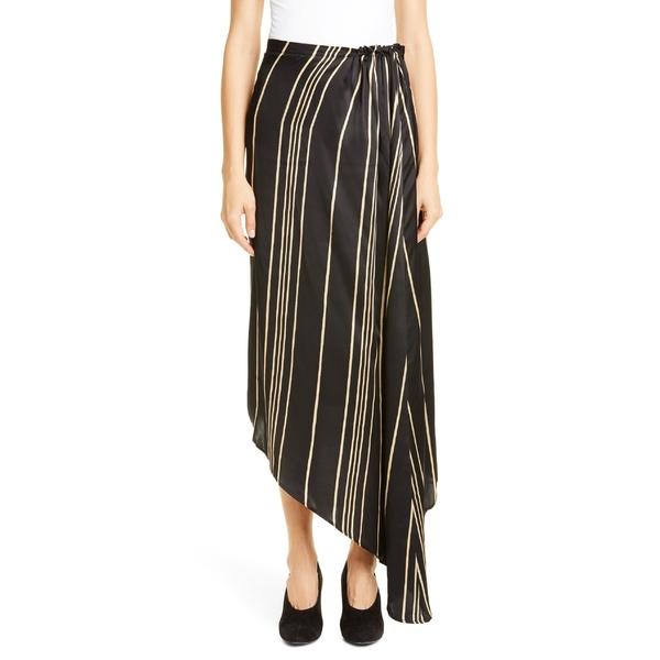 コー レディース スカート ボトムス Co Stripe Drawstring Waist Asymmetrical Skirt Black/ Ivory