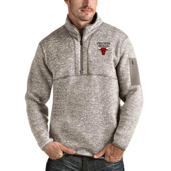 アンティグア メンズ ジャケット&ブルゾン アウター Chicago Bulls Antigua Fortune Quarter-Zip Pullover Jacket Natural