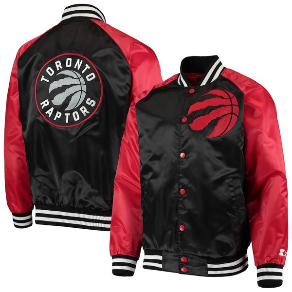 スターター メンズ ジャケット&ブルゾン アウター Toronto Raptors Starter Point Guard Satin Full-Snap Jacket Black/Red