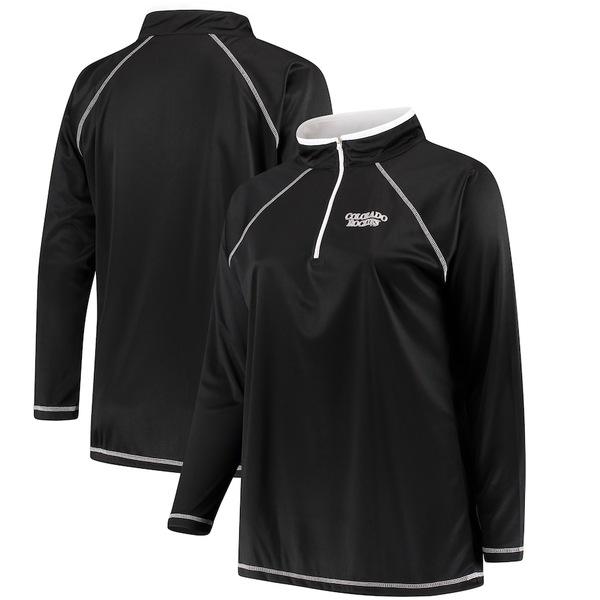 マジェスティック レディース ジャケット&ブルゾン アウター Colorado Rockies Majestic Women's Plus Size Quarter-Zip Pullover Jacket Black