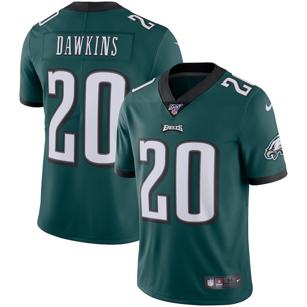 ナイキ メンズ シャツ トップス Brian Dawkins Philadelphia Eagles Nike NFL 100 Retired Vapor Limited Jersey Midnight Green
