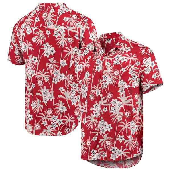 フォコ メンズ シャツ トップス Alabama Crimson Tide College Floral Button-Up Shirt Crimson