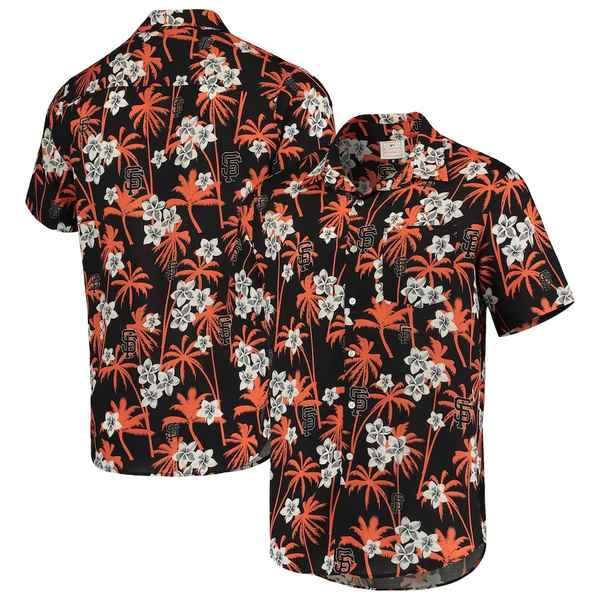 フォコ メンズ シャツ トップス San Francisco Giants Floral Button-Up Shirt Black