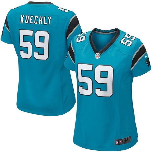 ナイキ レディース シャツ トップス Luke Kuechly Carolina Panthers Nike Women's Game Jersey Panther Blue
