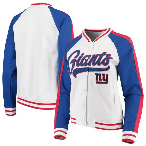 ニューエラ レディース ジャケット&ブルゾン アウター New York Giants New Era Women's Varsity Full Snap Jacket White/Royal