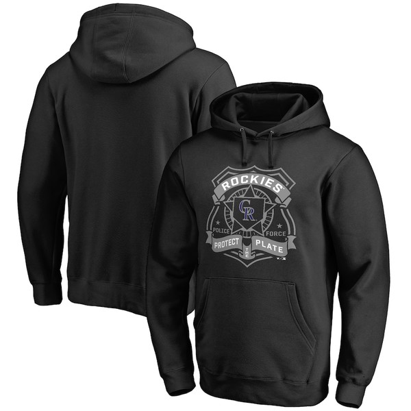ファナティクス メンズ パーカー・スウェットシャツ アウター Colorado Rockies Police Badge Pullover Hoodie Black