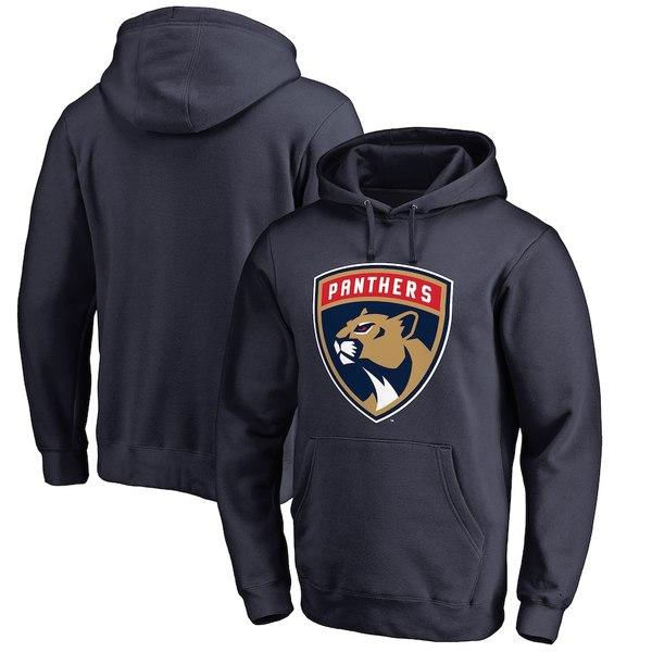 ファナティクス メンズ パーカー・スウェットシャツ アウター Florida Panthers Fanatics Branded Primary Logo Pullover Hoodie Navy
