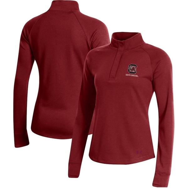 アンダーアーマー レディース ジャケット&ブルゾン アウター South Carolina Gamecocks Under Armour Women's Double-Knit Jersey Quarter-Snap Pullover Jacket Garnet