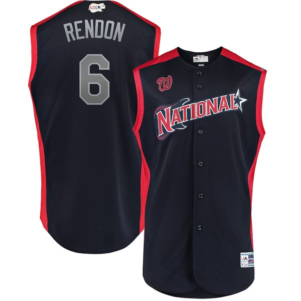 マジェスティック メンズ シャツ トップス Anthony Rendon National League Majestic 2019 MLB All-Star Game Workout Player Jersey Navy