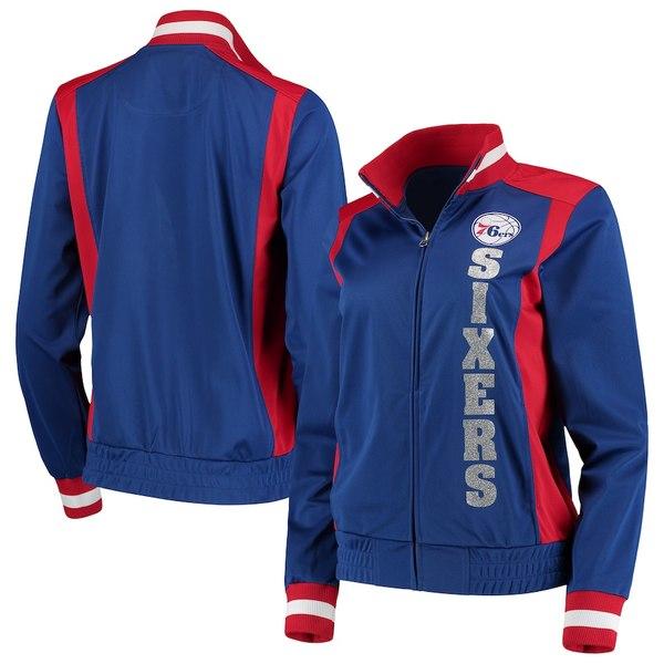 カールバンクス レディース ジャケット&ブルゾン アウター Philadelphia 76ers G-III 4Her by Carl Banks Women's On-Deck Platinum Glitter Track Jacket Royal/Red