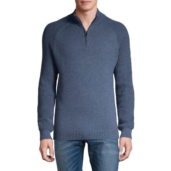 ブラック・ブラウン1826 メンズ ニット&セーター アウター Quarter-Zip Rib-Knit Mockneck Sweater Denim Blue