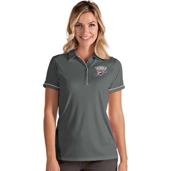 Antigua レディース トップス ポロシャツ Gray White 送料無料(一部地域を除く) 全商品無料サイズ交換 アンティグア Salute City 当店一番人気 Thunder Oklahoma Women's Polo Shirt