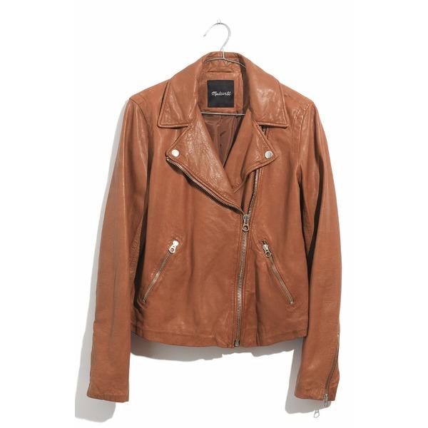 メイドウェル レディース ジャケット&ブルゾン アウター Madewell Washed Leather Moto Jacket Burnt Sienna