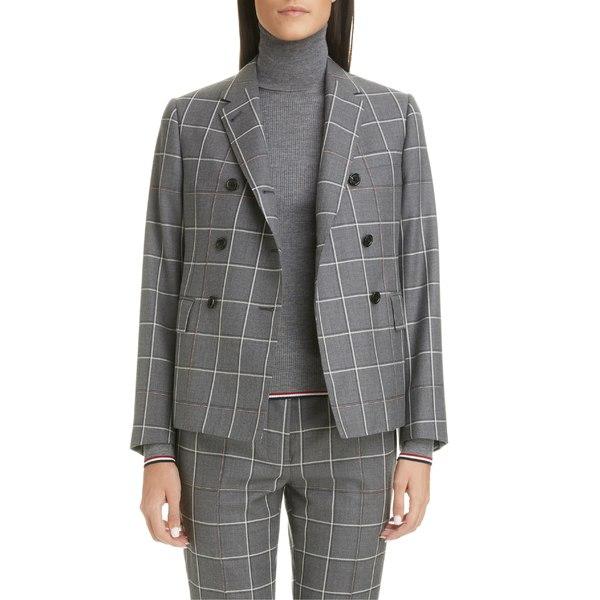 トムブラウン レディース ジャケット&ブルゾン アウター Thom Browne Double Breasted Wool Blazer Med Grey