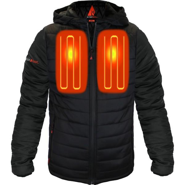 アクションヒート メンズ ジャケット&ブルゾン アウター ActionHeat Men's 5V Battery Heated Insulated Puffer Jacket Black