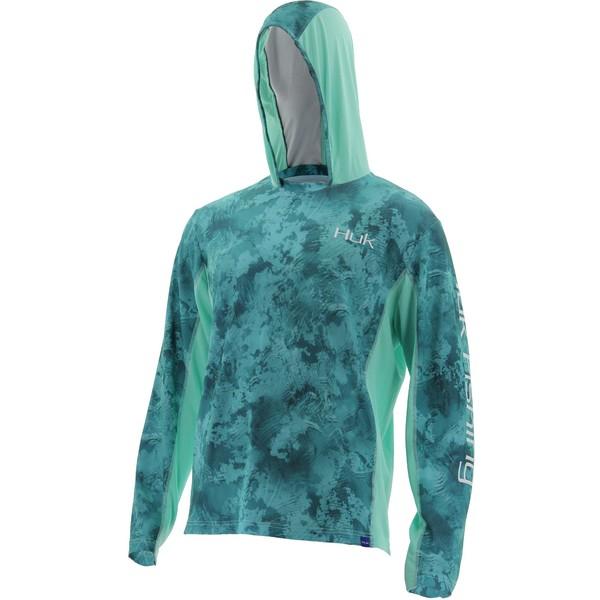フック メンズ シャツ トップス Huk Icon X Camo Long Sleeve Hooded Fishing Shirt (Regular and Big & Tall) SubphantisShallows