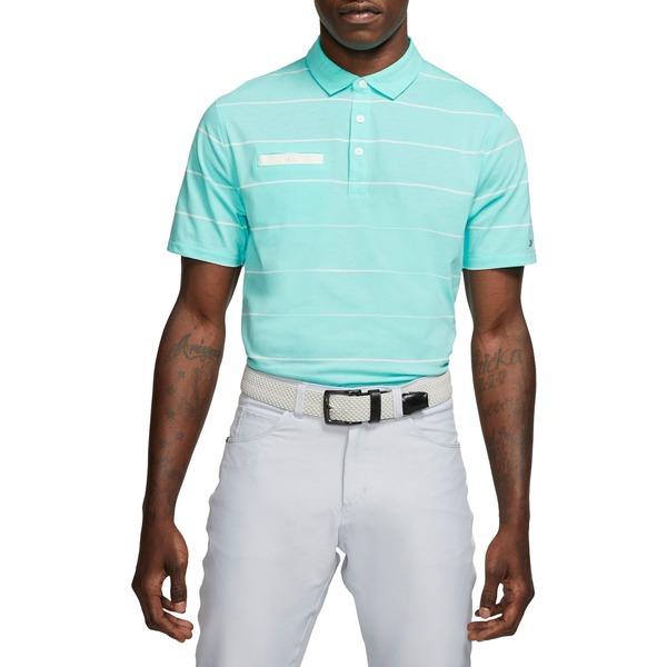 ナイキ メンズ ポロシャツ トップス Nike Men's Stripe Player Golf Polo LightAqua
