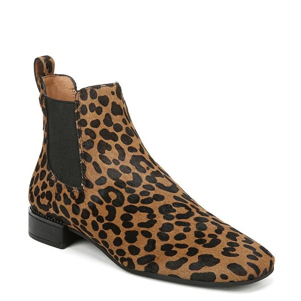 フランコサルト レディース ブーツ&レインブーツ シューズ Sarto by Franco Sarto Heather Leopard Print Calf Hair Chelsea Block Heel Boots Whiskey Leopard