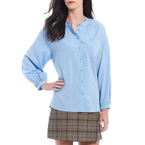 クレミュ レディース シャツ トップス Dalia Mandarin Collar Button Front Blouse Light Blue