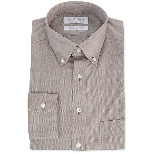 ランドツリーアンドヨーク メンズ シャツ トップス Gold Label Roundtree & Yorke Non-Iron Slim Fit Button-Down Collar Textured Solid Dress Shirt Brown