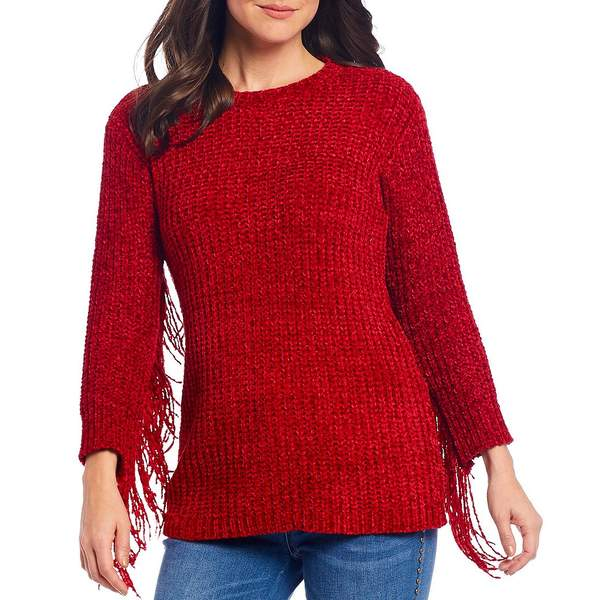 レバ レディース ニット&セーター アウター Jersey Knit Chenille Sleeve Fringe Detail Sweater Red