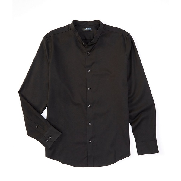 ムラノ メンズ シャツ トップス Wardrobe Essentials Slim-Fit Textured Long-Sleeve Woven Shirt Black