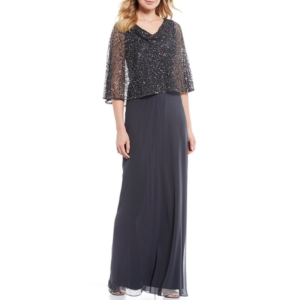 ジェイカラ レディース ワンピース トップス Cowl Neck Short Sleeve Sequin Popover Chiffon Gown Grey/Multi