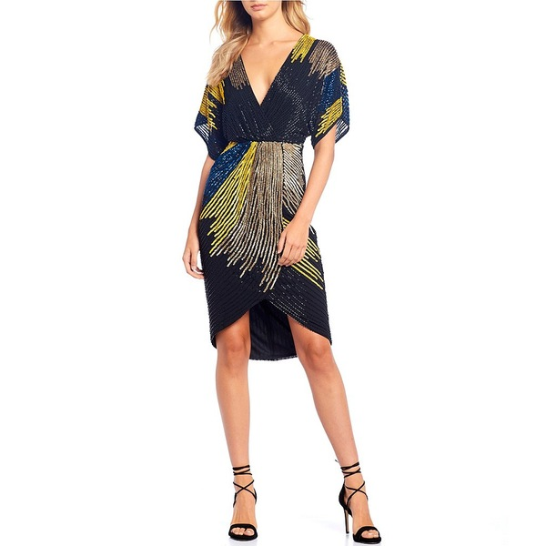 ジアーニビニ レディース ワンピース トップス Bridget Beaded Colorblock Asymmetrical Dolman Sleeve Hi-Low A-Line Dress Black Multi