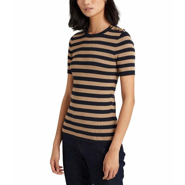 Striped ニット&セーター Metallic Sweater アウター Navy/Gold レディース Button-Trim Lauren ラルフローレン