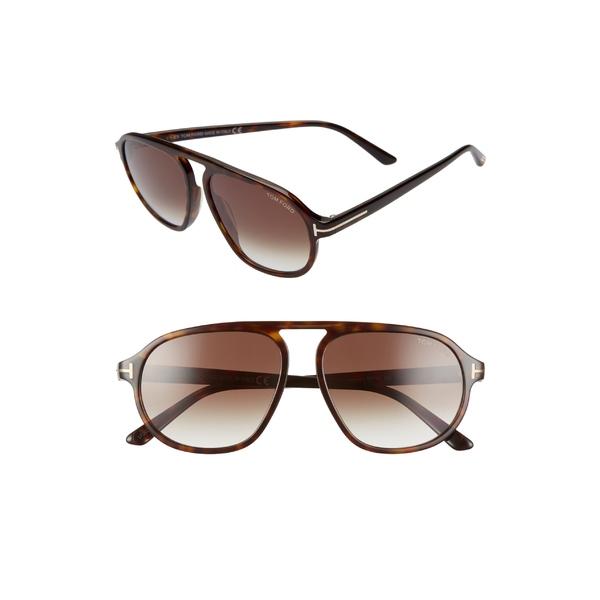 トム・フォード メンズ サングラス・アイウェア アクセサリー Tom Ford Harrison 57mm Navigator Sunglasses Dark Havana/ Gradient Roviex