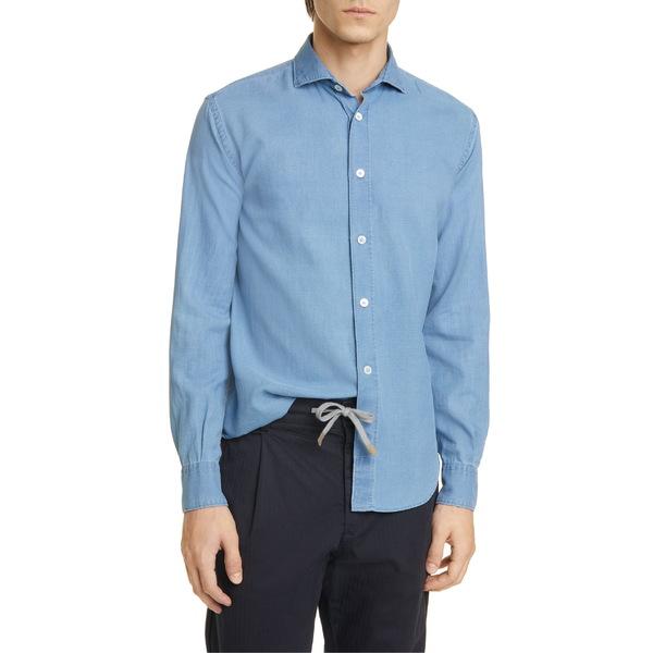 イレブンティ メンズ シャツ トップス Eleventy Slim Fit Chambray Button-Up Shirt Blue