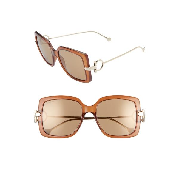 サルヴァトーレ フェラガモ レディース サングラス&アイウェア アクセサリー Salvatore Ferragamo Gancio 55mm Square Sunglasses Brown