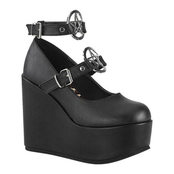 デモニア レディース サンダル シューズ Poison 99-1 Wedge Platform Mary Jane Black Vegan Leather
