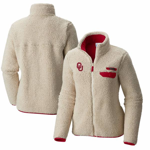 コロンビア レディース ジャケット&ブルゾン アウター Oklahoma Sooners Columbia Women's Mountain Side Sherpa Fleece FullZip Jacket Cream