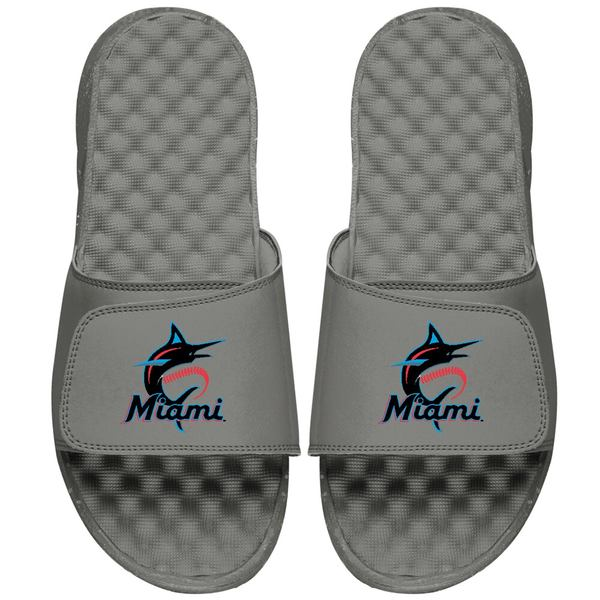 アイスライド メンズ サンダル シューズ Miami Marlins ISlide Primary Logo Slide Sandals Gray