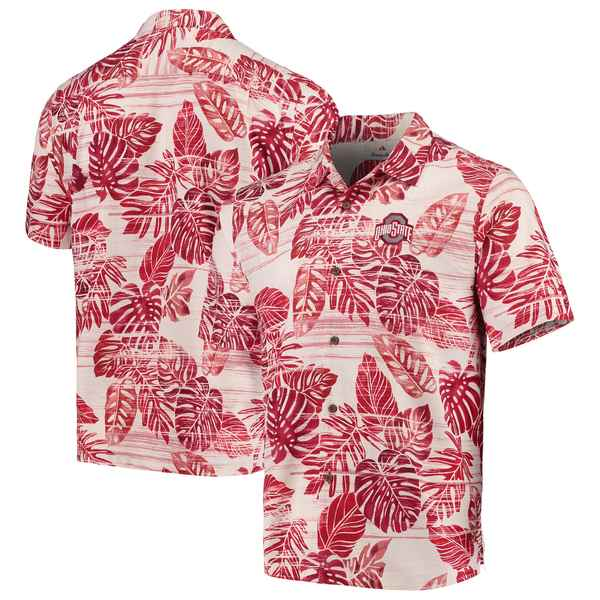 トッミーバハマ メンズ シャツ トップス Ohio State Buckeyes Tommy Bahama Super Fan Camp Shirt Scarlet