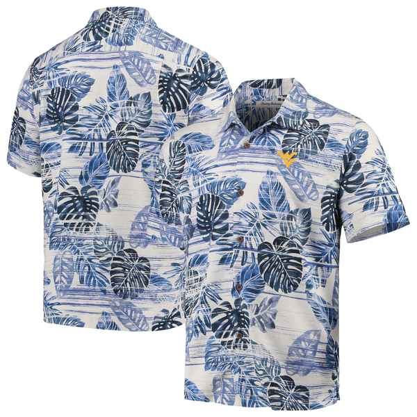 トッミーバハマ メンズ シャツ トップス West Virginia Mountaineers Tommy Bahama Super Fan Camp Shirt Navy