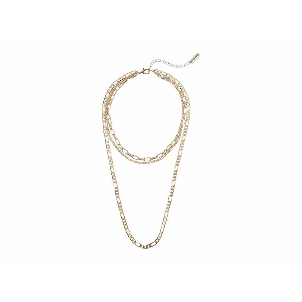 スティーブ マデン レディース ネックレス・チョーカー・ペンダントトップ アクセサリー Cable Chain Chain Three-Piece Necklace Set Yellow Gold-Tone
