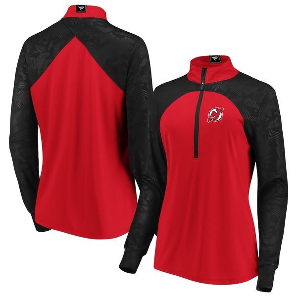 ファナティクス レディース ジャケット&ブルゾン アウター New Jersey Devils Fanatics Branded Women's Rookie Sensation Quarter-Zip Pullover Jacket Red/Black