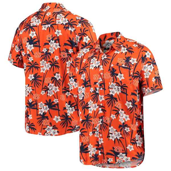 フォコ メンズ シャツ トップス Auburn Tigers College Floral Button-Up Shirt Orange