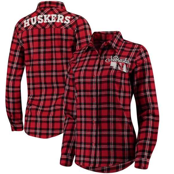 フォコ レディース シャツ トップス Nebraska Cornhuskers Women's Wordmark Button-Up Flannel Shirt Scarlet