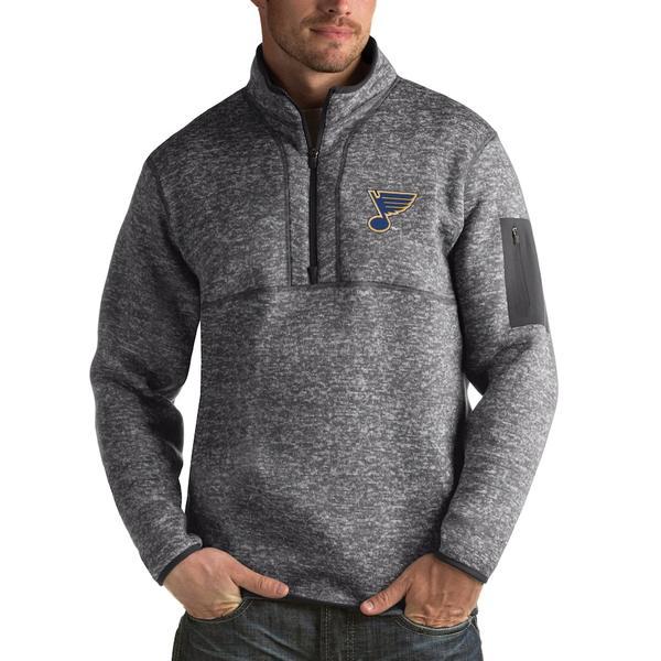 アンティグア メンズ ジャケット&ブルゾン アウター St. Louis Blues Antigua Fortune 1/2-Zip Pullover Jacket Charcoal