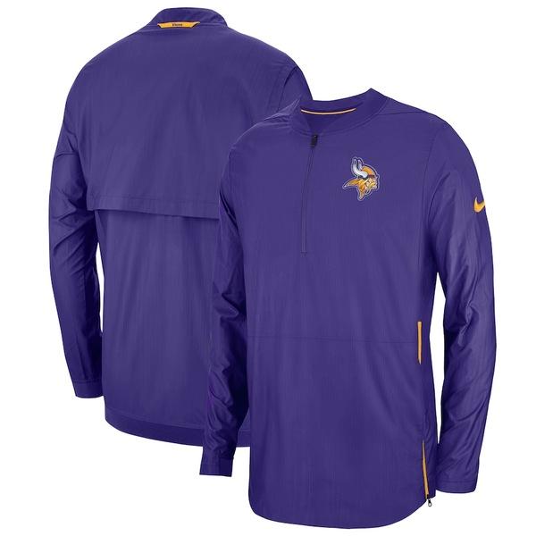 ナイキ メンズ ジャケット&ブルゾン アウター Minnesota Vikings Nike Sideline Lockdown Quarter-Zip Jacket Purple