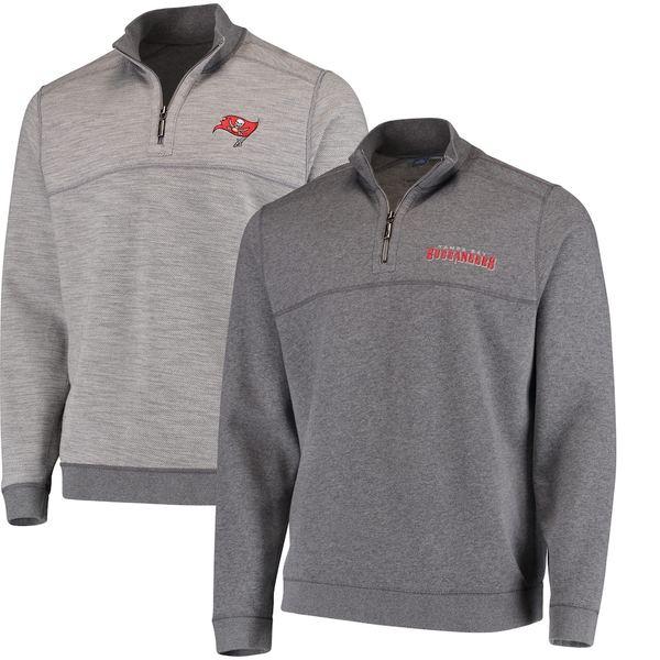 トッミーバハマ メンズ シャツ トップス Tampa Bay Buccaneers Tommy Bahama Flip Drive Half-Zip Sweater Heathered Gray