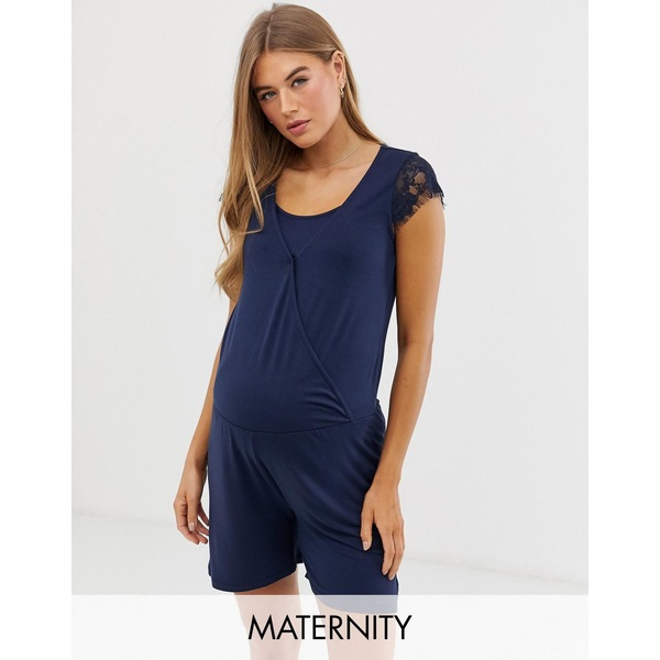ママライシアス レディース ワンピース トップス Mamalicious maternity nursing lace trim jersey romper in blue Navy