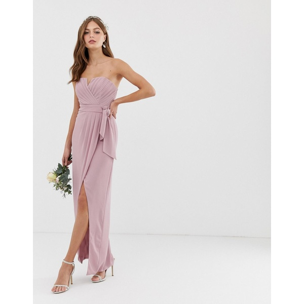 ティエフエヌシー レディース ワンピース トップス TFNC bridesmaid exclusive bandeau wrap midaxi dress with pleated detail in pink Pink